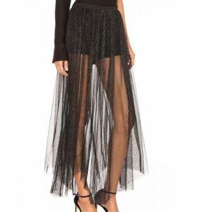 Free People glitter tulle maxi skirt